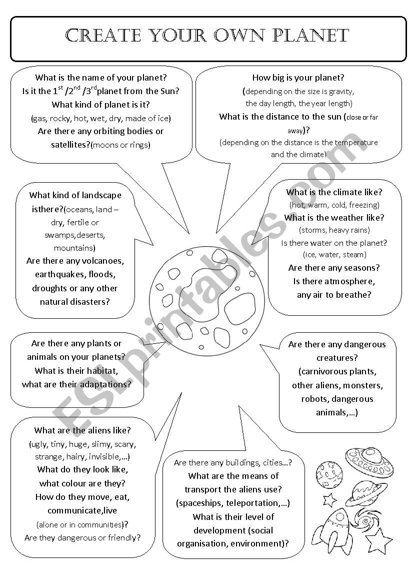 English worksheets: CREATE YOUR OWN PLANET