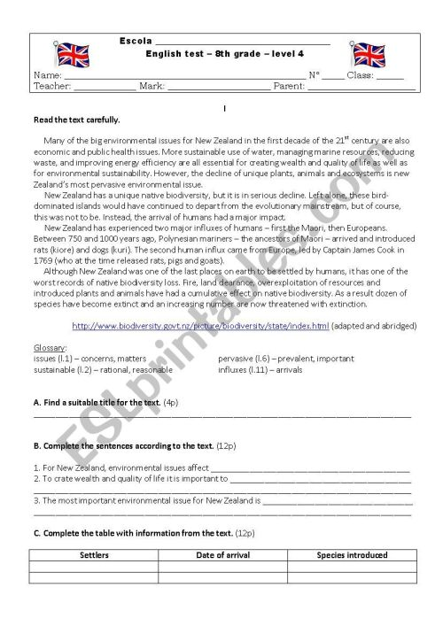 small resolution of 8th grade - English Test - Environment - ESL worksheet by arizla