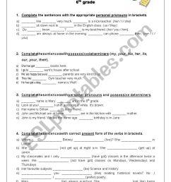 Revising grammar contents - 6th grade - ESL worksheet by ritinha23 [ 1169 x 826 Pixel ]