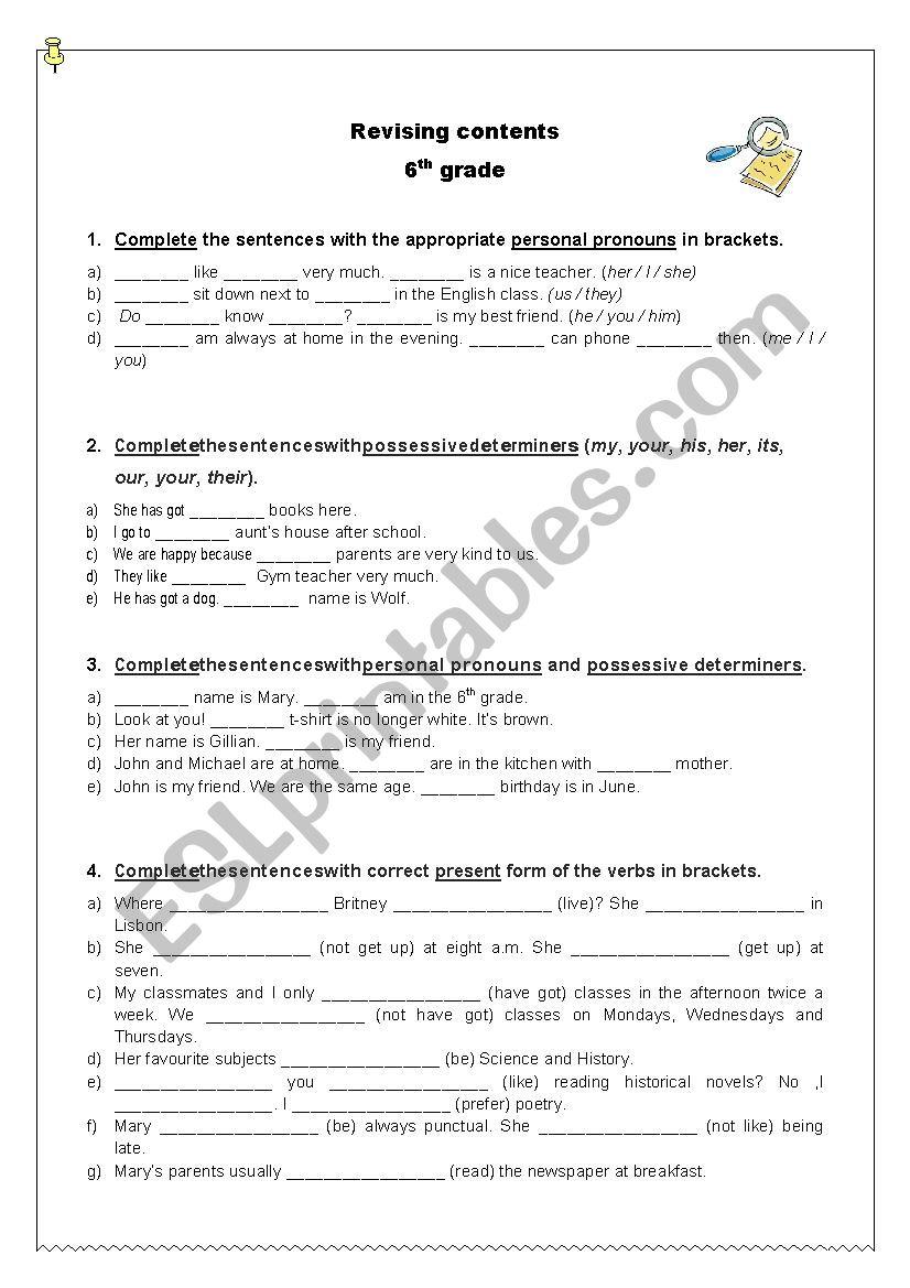 medium resolution of Revising grammar contents - 6th grade - ESL worksheet by ritinha23