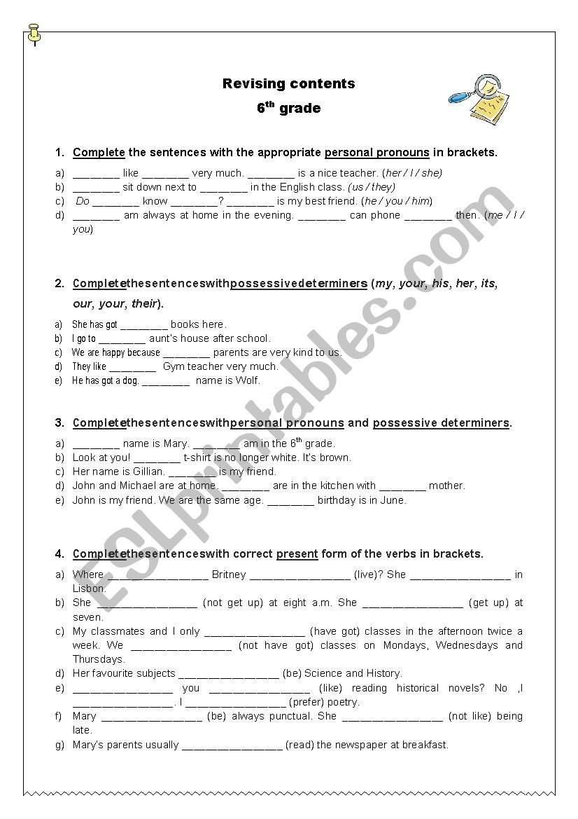 hight resolution of Revising grammar contents - 6th grade - ESL worksheet by ritinha23