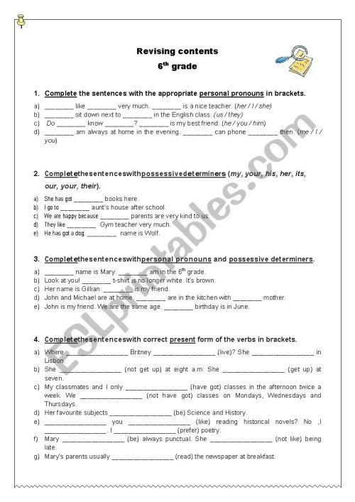 small resolution of Revising grammar contents - 6th grade - ESL worksheet by ritinha23