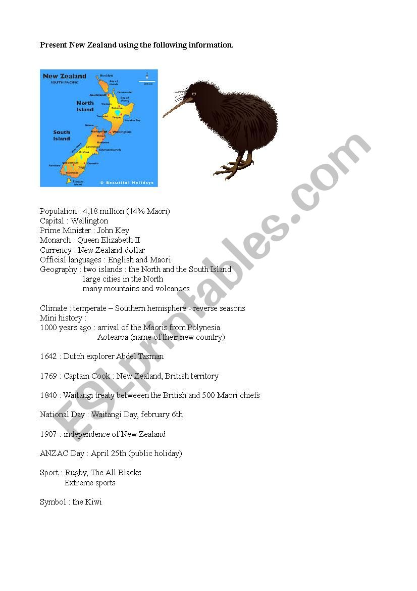 medium resolution of Use the following information to talk about New Zealand - ESL worksheet by  maya7126
