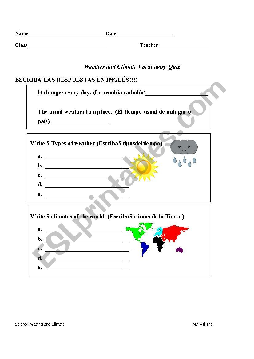 hight resolution of Weather and Climate Quiz 6th-8th grade - ESL worksheet by MarielV