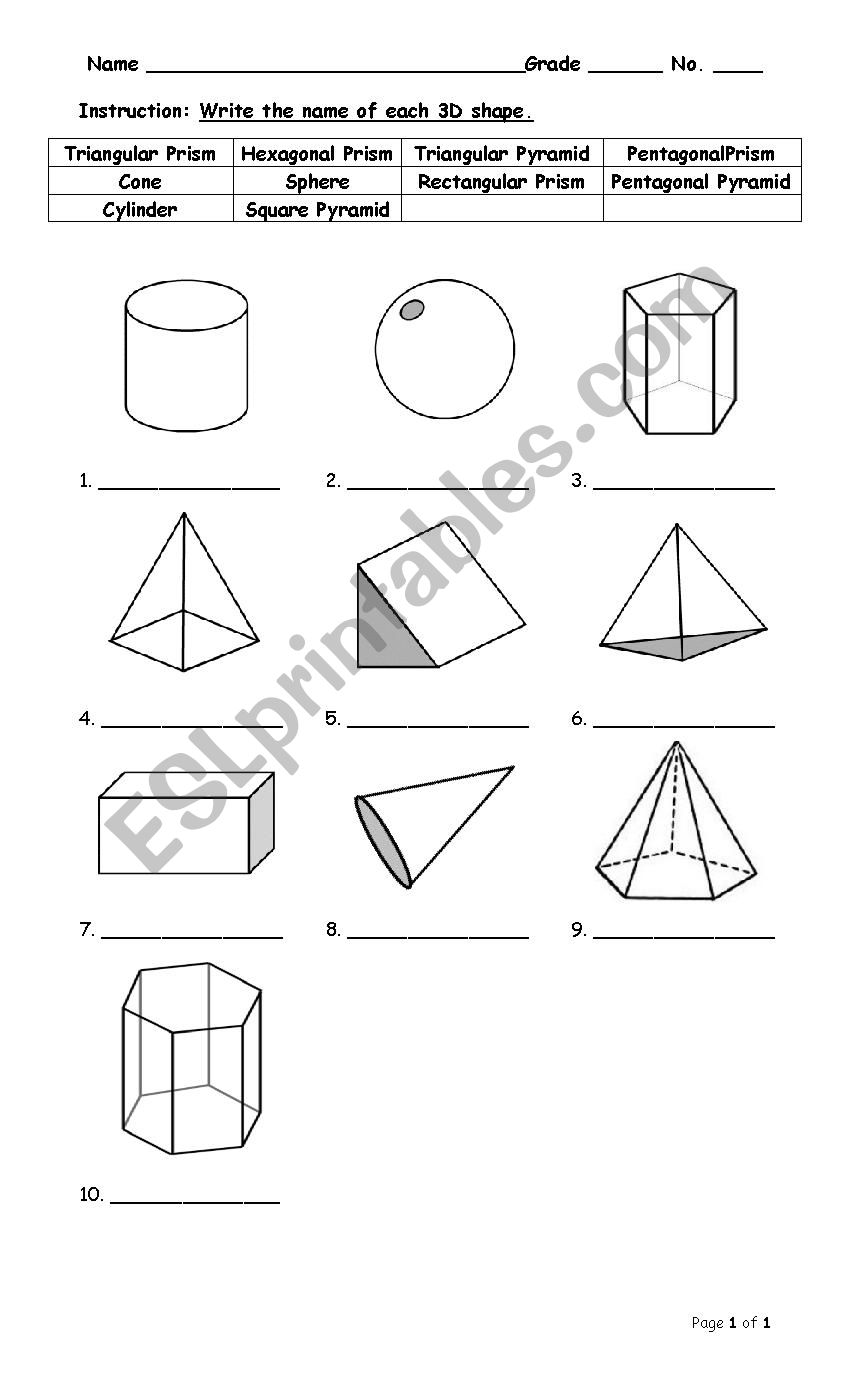 hight resolution of 3D shapes - ESL worksheet by sirada54