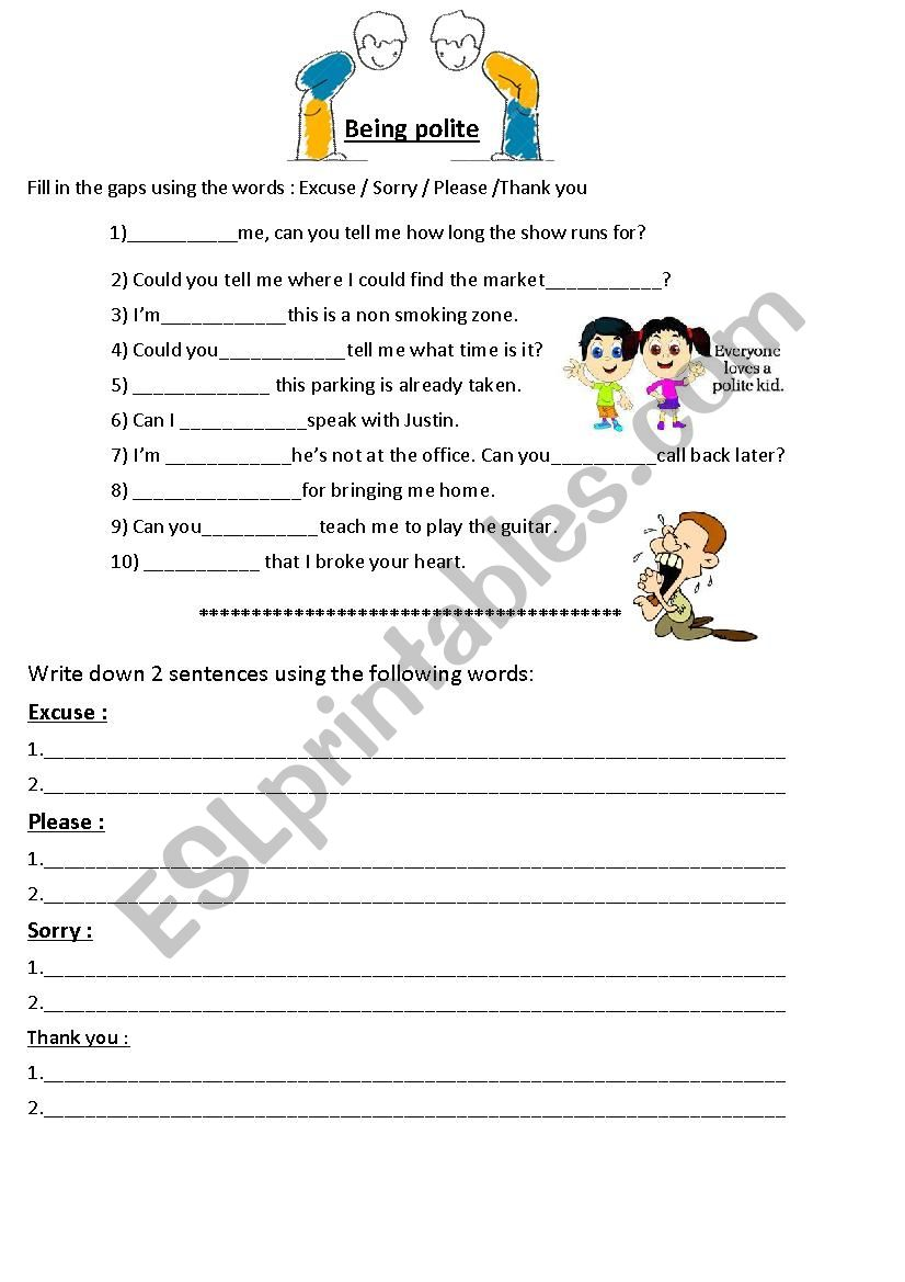medium resolution of Polite expressions (manners) - ESL worksheet by jasonesl