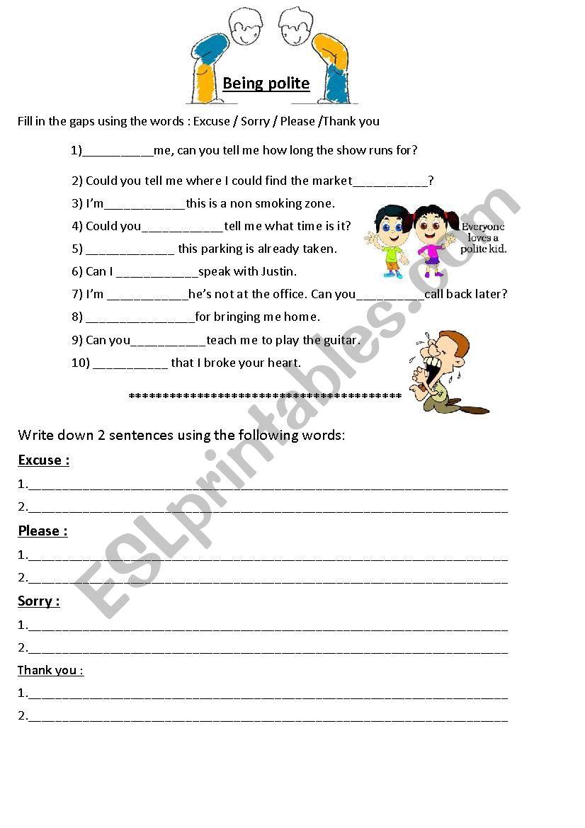 hight resolution of Polite expressions (manners) - ESL worksheet by jasonesl
