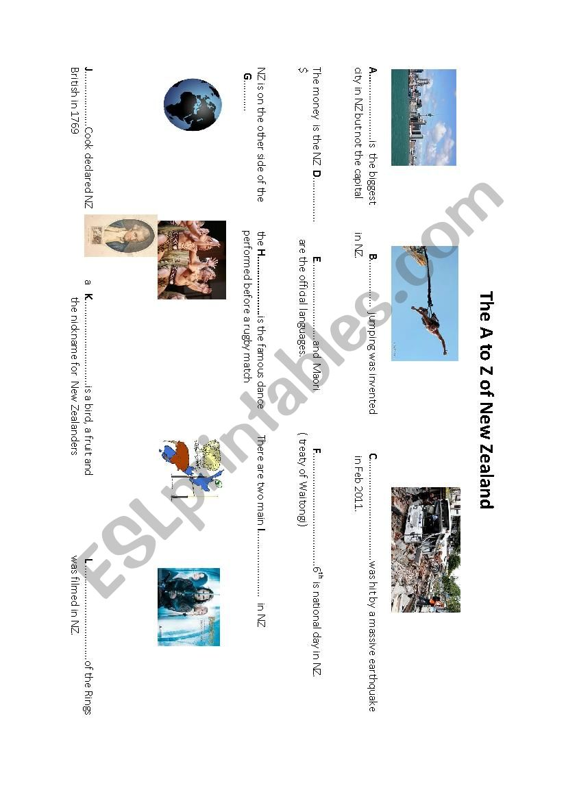 medium resolution of The A to Z of New Zealand - ESL worksheet by chritine