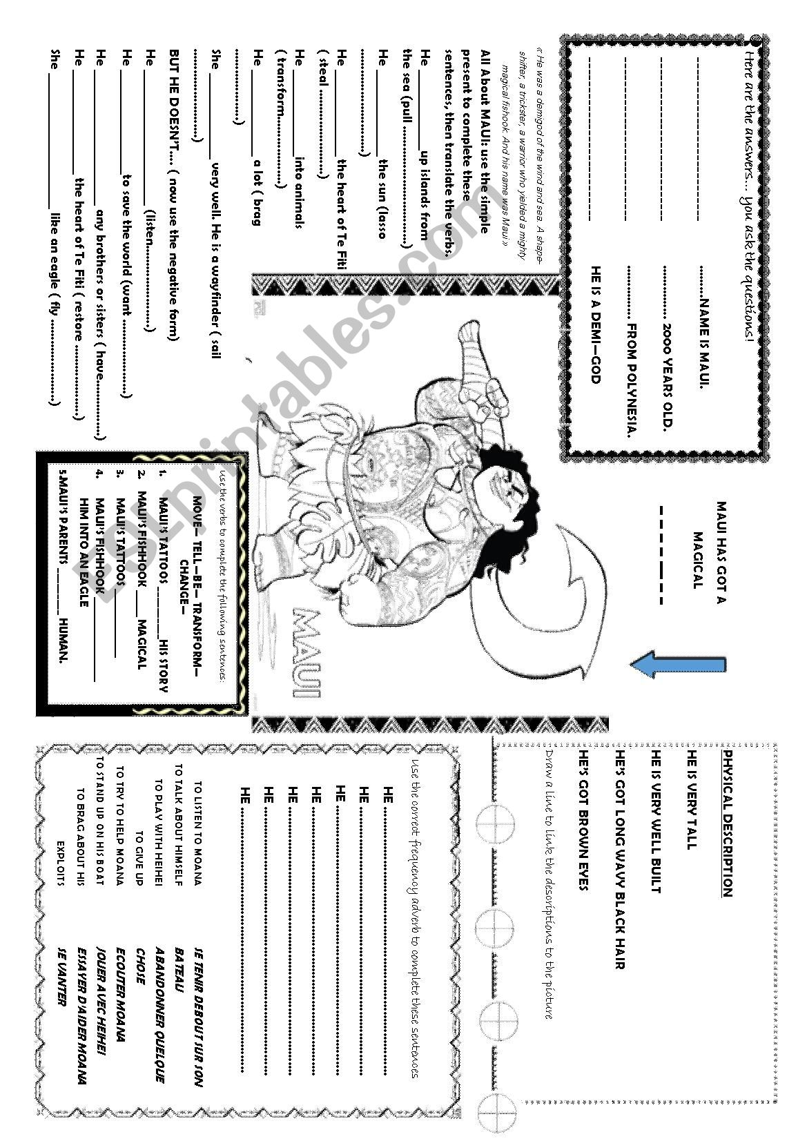 English Worksheets Moana