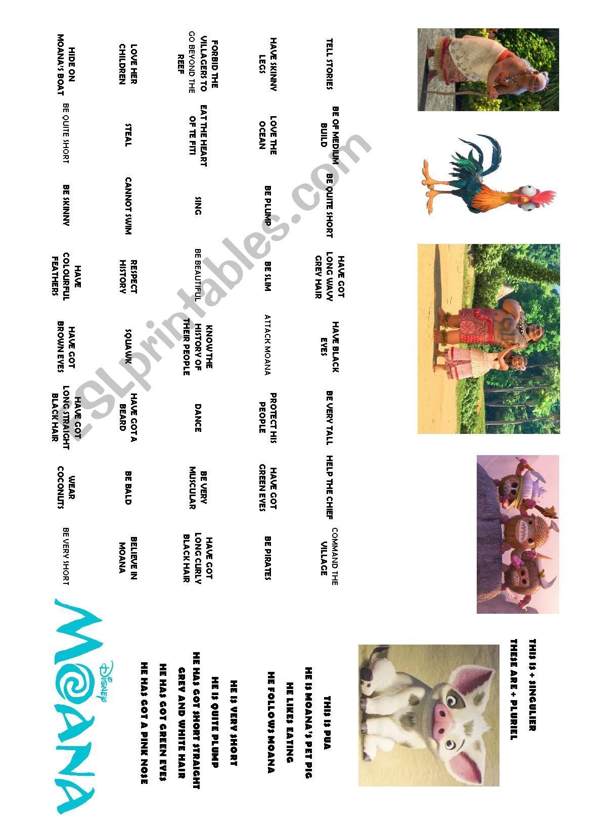 English Worksheets Moana Vaiana Worksheet 3 Describing