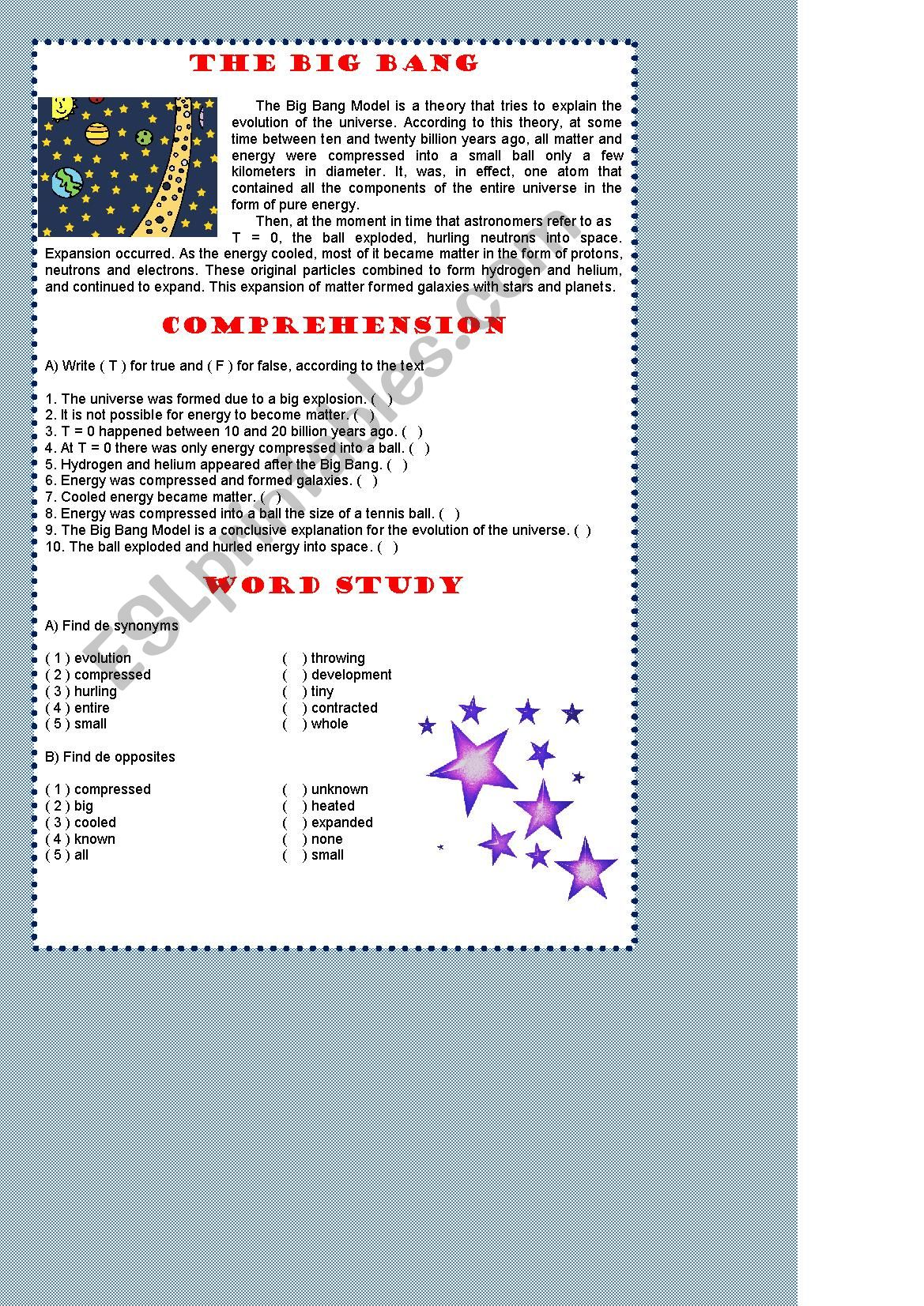 hight resolution of Big Bang Foldable Worksheets   Printable Worksheets and Activities for  Teachers