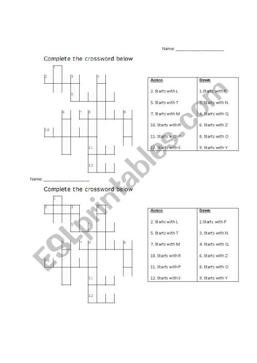 small resolution of 1st-3rd Grade ESL Phonics Crossword Puzzle - ESL worksheet by shiori87