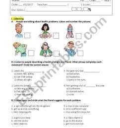 Test Health Problems / 7th grade - ESL worksheet by mmsilva [ 1169 x 826 Pixel ]
