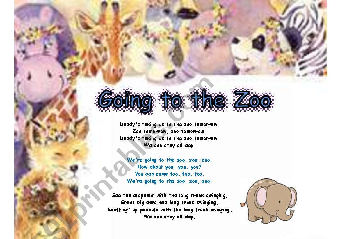 Going To The Zoo Song And Activities Part 1 Of 3