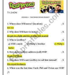 The Fresh Prince of Bel-Air Season 1 Episode 1 - ESL worksheet by Lara2016 [ 1169 x 826 Pixel ]