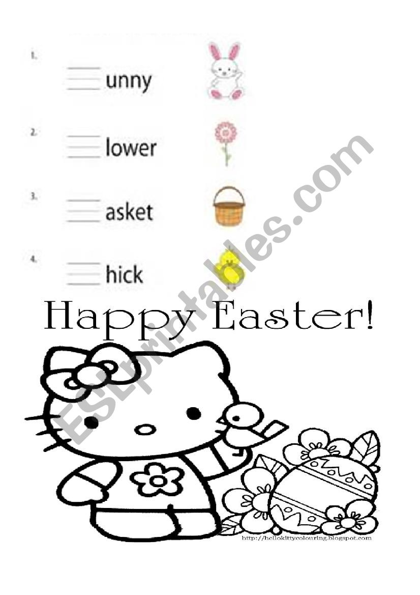 Easter phonics blend review. Hello Kitty and Spongebob