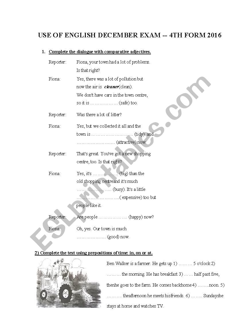 hight resolution of Use of English Exam 4th grade - ESL worksheet by Carlamon