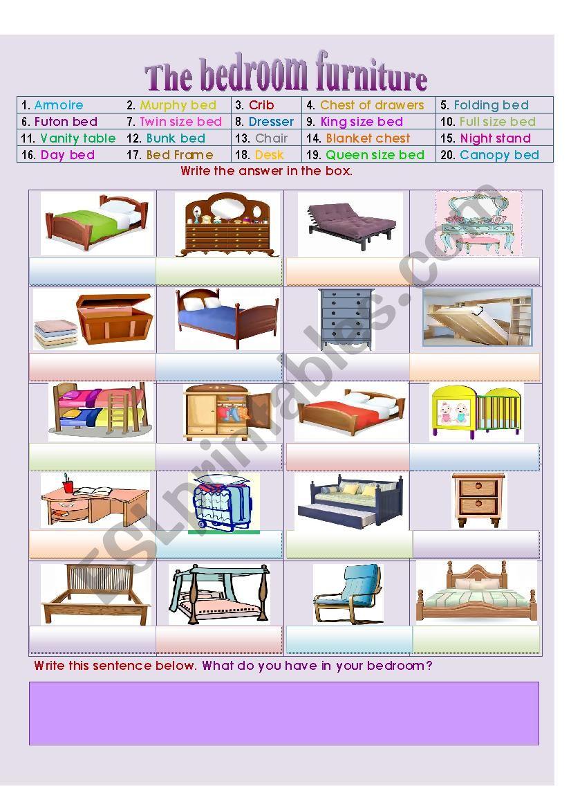 The Bedroom Furniture And Accessories Esl Worksheet By Sunshinenikki