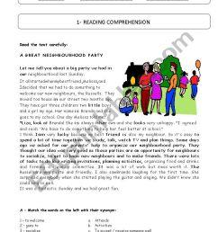 7th grade TEST - A Neighbourhood party - ESL worksheet by plemos [ 1169 x 826 Pixel ]