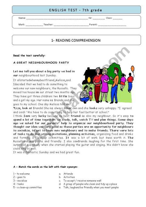 small resolution of 7th grade TEST - A Neighbourhood party - ESL worksheet by plemos