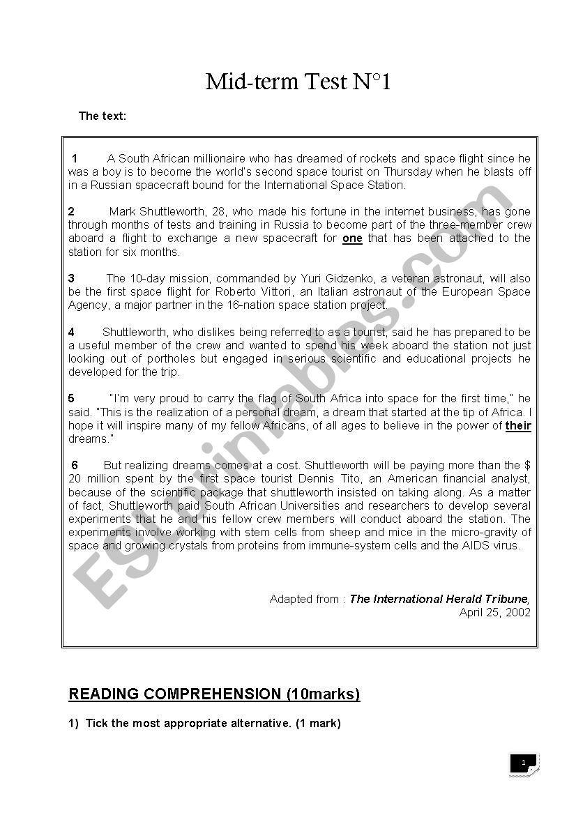 hight resolution of 4th grade mid-term test 1 - ESL worksheet by benhammouda