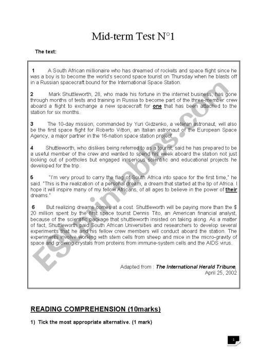 small resolution of 4th grade mid-term test 1 - ESL worksheet by benhammouda