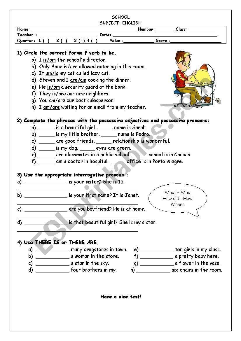 medium resolution of 7th grade test - ESL worksheet by Taismg