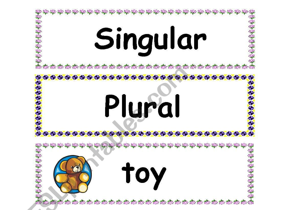 Flashcards Singular And Plural Part 1