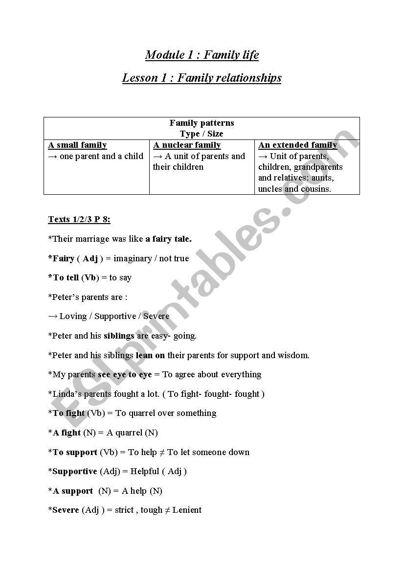 medium resolution of Module 1 : Family Life 9th Grade - ESL worksheet by dordor