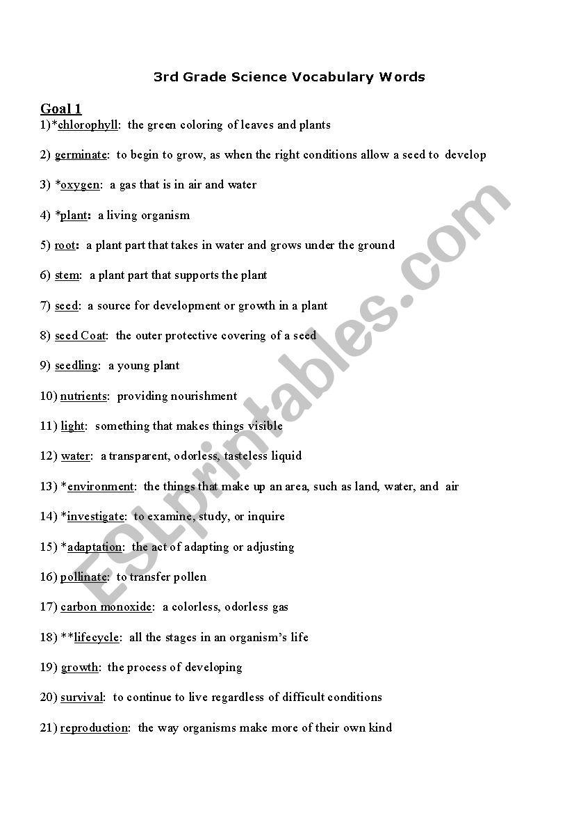 medium resolution of 3rd Grade Science Words - ESL worksheet by donbas
