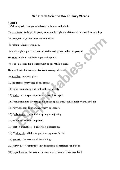 small resolution of 3rd Grade Science Words - ESL worksheet by donbas
