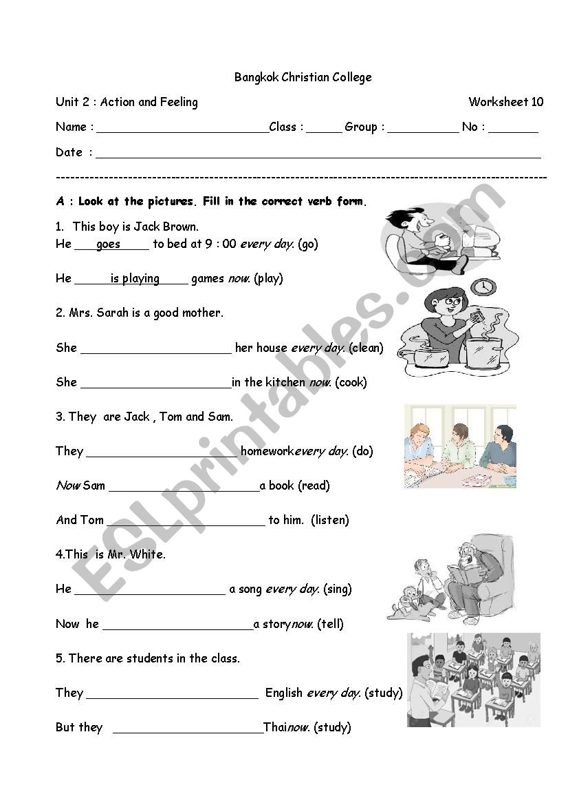 medium resolution of present simple tense and present continuous tense - ESL worksheet by  santita.ta