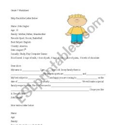 Guided Writing Letters about Family and Recipe measurements - ESL worksheet  by Danny 25 [ 1169 x 826 Pixel ]