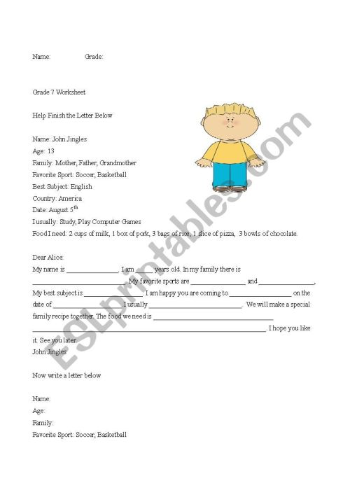 small resolution of Guided Writing Letters about Family and Recipe measurements - ESL worksheet  by Danny 25