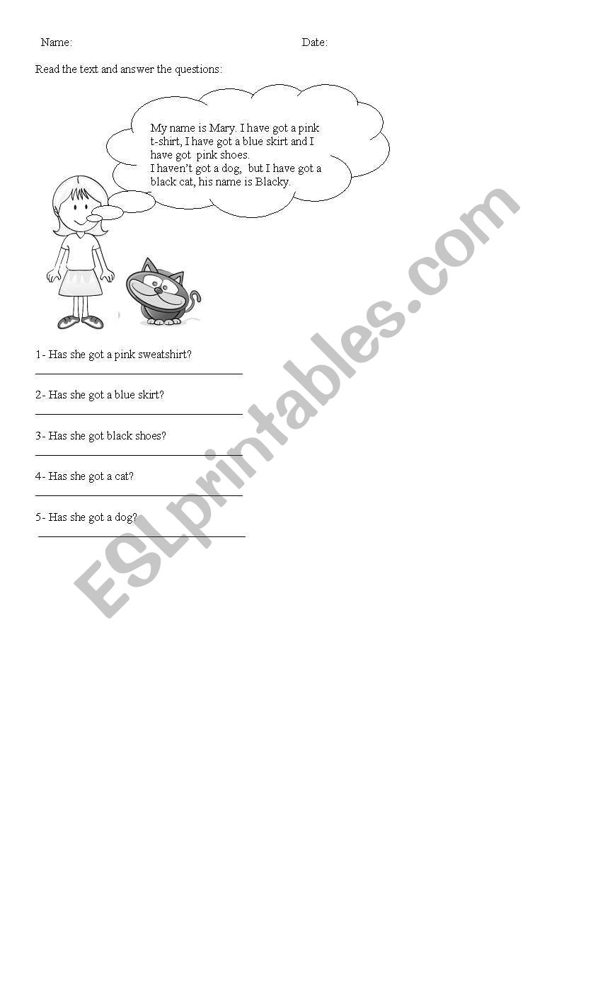English worksheets: read the text and answer the questions