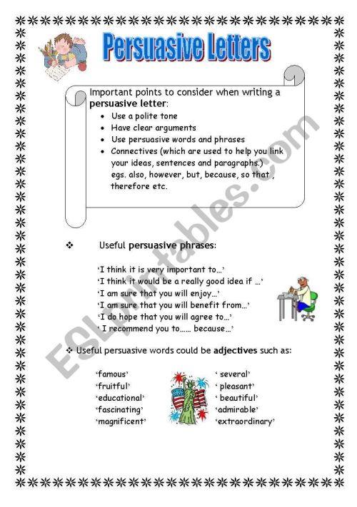 small resolution of Persuasive Letter Worksheet - Letter