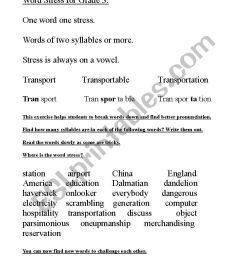 Word Stress for Grade 3 - ESL worksheet by Donwin [ 1169 x 826 Pixel ]