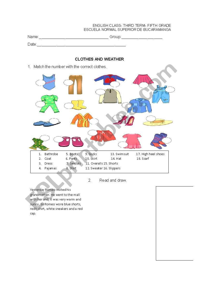 hight resolution of clothes - ESL worksheet by erika_07