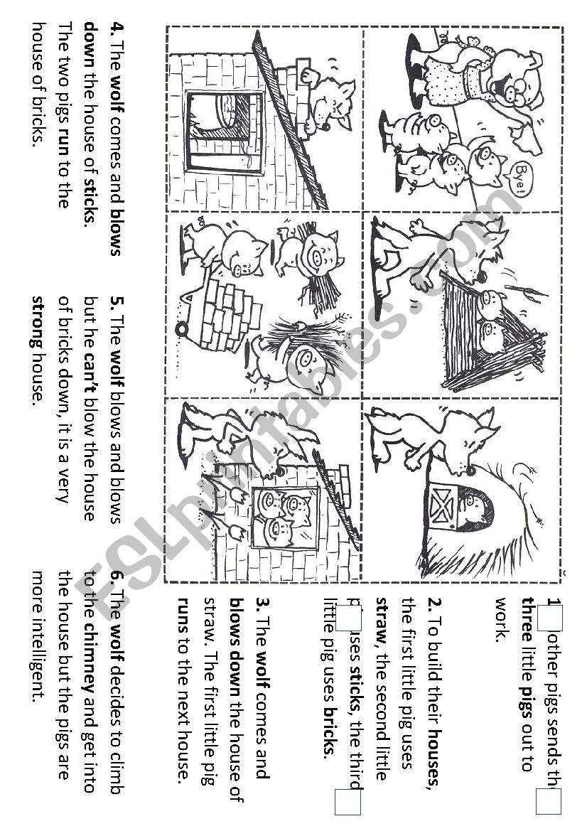 medium resolution of Sequencing the story of the three little pigs - ESL worksheet by  torrecillasss