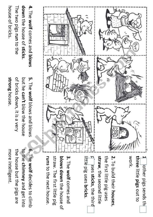 small resolution of Sequencing the story of the three little pigs - ESL worksheet by  torrecillasss
