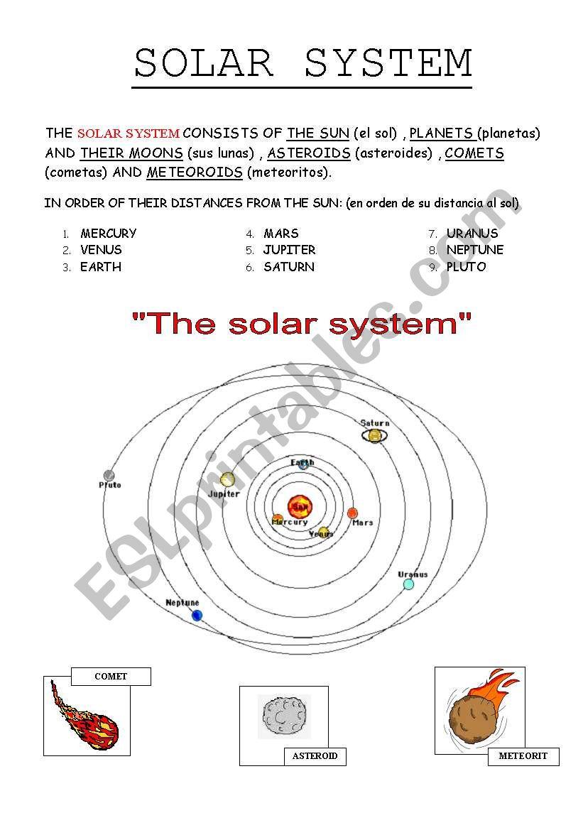 medium resolution of THE SOLAR SYSTEM - ESL worksheet by lolamora3