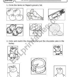 grocery list peppa pig worksheet [ 826 x 1169 Pixel ]