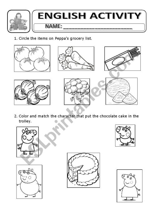small resolution of grocery list peppa pig worksheet