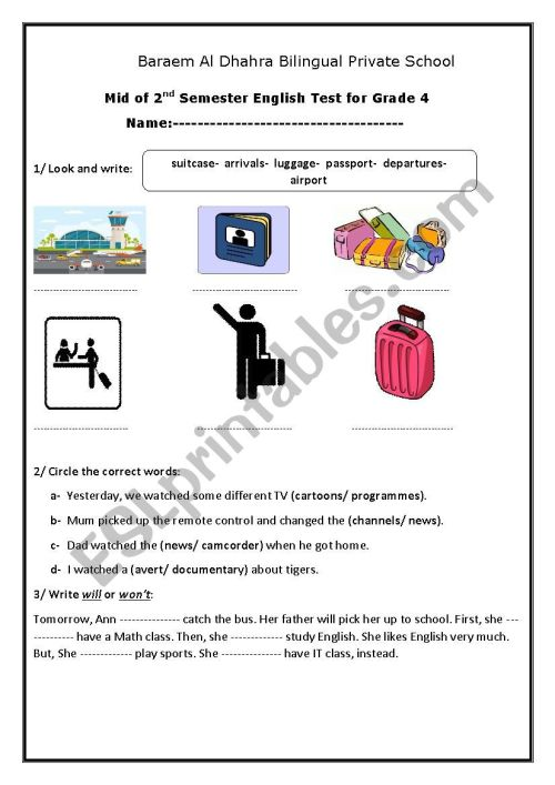 small resolution of 2nd term- exam for grade 4 elementary - ESL worksheet by EA17BR06