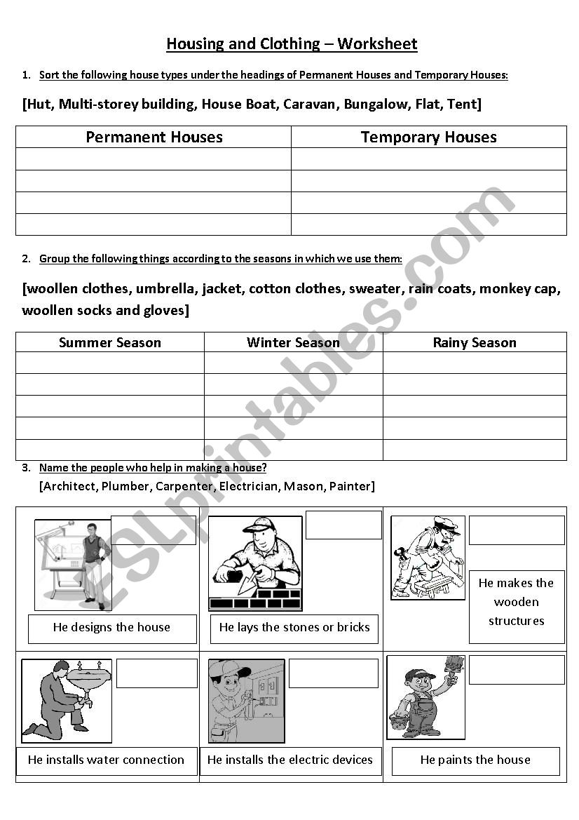hight resolution of Housing And Clothing - ESL worksheet by vighnajith