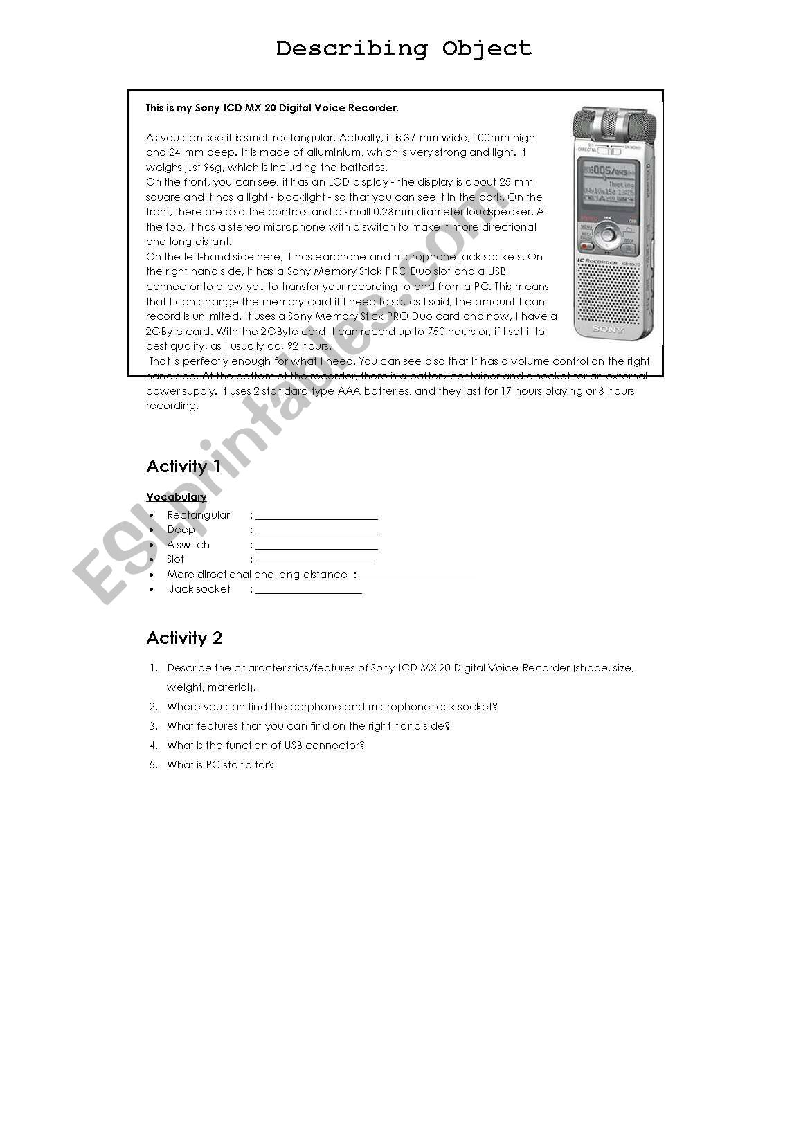 English Worksheets Describing Object