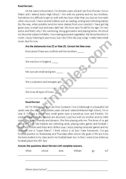 small resolution of 7th grade test 1st term - ESL worksheet by Juju