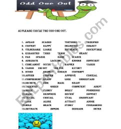 CIRCLE THE ODD ONE OUT SYNONYM - ESL worksheet by source [ 1169 x 826 Pixel ]