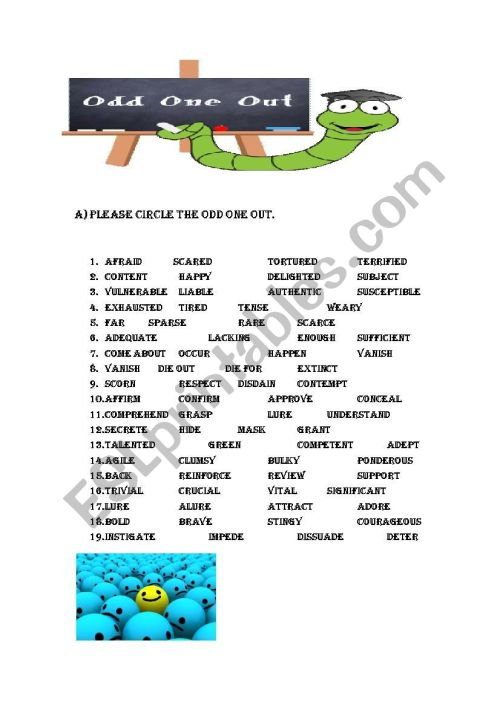 small resolution of CIRCLE THE ODD ONE OUT SYNONYM - ESL worksheet by source