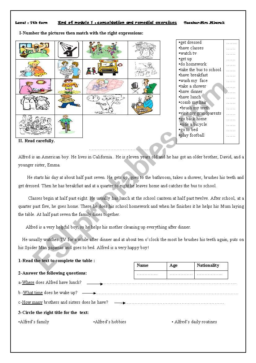Consolidation and remedial exercises: end-module 1 7th
